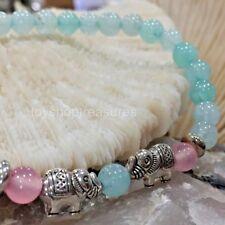 New Gemstone Elephant Amazonite Rose Quartz  Bracelet Gemstone & silver Elephant