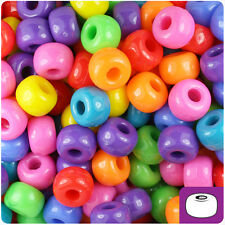 250 Circus Mixed Colors Opaque 11x8mm Large Barrel Pony Beads Made in the USA