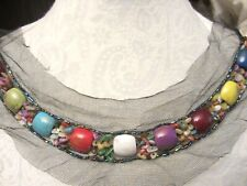 """New listing 12"""" *Boho - Bead - Stone* Neckline Applique Colorful"""