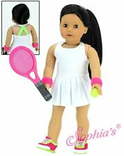 """White Tennis Dress w/Pleated Skirt 4 Piece Set fit 18"""" American Girl Doll"""