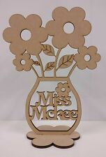 Personalised Flower pot with flowers. Wood, Decoration, Home, Craft, Gift.