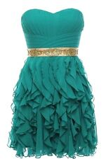 NWT ASOS COUTURE GREEN STRAPLESS RUFFLED PROM PARTY BRIDESMAID DRESS S M L