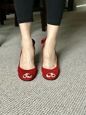 "Kate Cooper High Heels - Red Suede - Size 7 (EU 40) - Peep toe platform 4"" heels"
