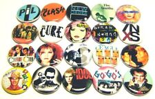 "20 1980s Wave Bands One Inch Buttons 1"" Badges Punk Rock Pinbacks Set #1"