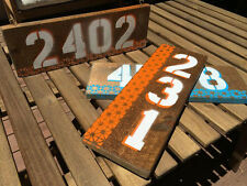 Shabby Chic Handmade Address Sign in Blue or Orange on Rustic Dark Wood
