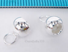2x STERLING SILVER BRIGHT 3.3mm LEATHER BALL END CAP COVER CONNECTOR BEAD #1543