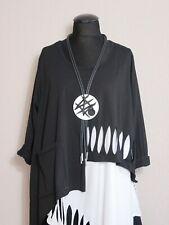 Moonshine Fashion° Lagenlook Überwurf Shirt Cut Out Tasche ~ Schwarz ~ 1 / 2 / 3