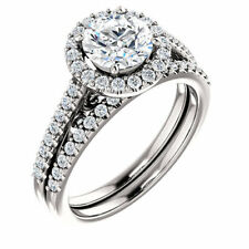 2Ct White Moissanite Halo  Engagement Ring Set Wedding Band 925 Sterling Silver
