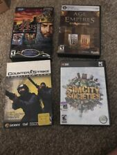 PC Video Game Lot Counter Strike, Age Of Empires, SimCity CD ROM Boxed