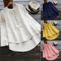 Fashion Women's Loose Long Sleeve Cotton Casual Blouse Shirt Tunic Tops Blouse