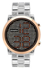 Phosphor Appear Clear Swarovski Gold Crystals Mechanical Digital Watch MD010L
