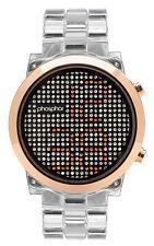 Phosphor Appear Swarovski Gold Crystals Mechanical Digital Watch MD010L