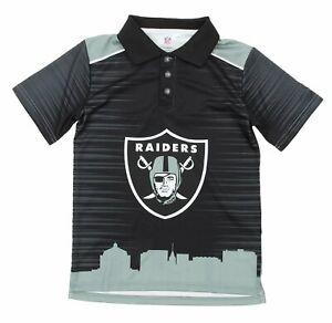 NFL Youth Oakland Raiders City Poly Polo, Black