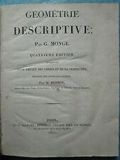 MONGE / BRISSON : GEOMETRIE DESCRIPTIVE, THEORIE DES OMBRES, 1820. 28 planches.