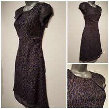 Size 8 Dress GEORGE Black Blue Brown Leopard Print Sheer Floaty Great Condition