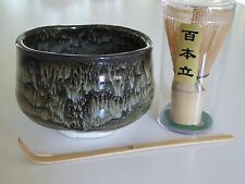 Japanese Matcha Bowl KINSAI NAGASHI Bamboo Scoop 100 Whisk Tea Ceremony Gift Set