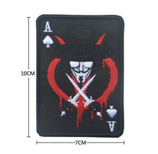 V VENDETTA ACE OF SPADES DEATH CARD USA ARMY TACTICAL SWAT OPS HOOK MORALE PATCH