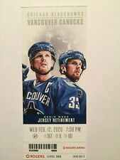VANCOUVER CANUCKS VS CHICAGO BLACKHAWKS FEBRUARY 12, 2020 TICKET STUB