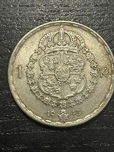 Suède 1943 argent 1943 1 Krona gustav v.