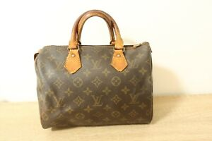 Authentic Louis Vuitton Speedy 25 Hand Bag Monogram Brown #8549
