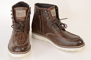 Penguin brown 8 leather suede side zip signature logo ankle boot shoe NEW $190