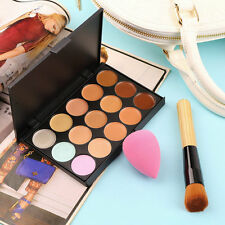 15 Colors Contour Face Cream Makeup Concealer Palette+Sponge Puff+Powder MG