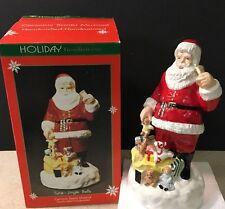 "10"" ceramic Santa music box plays Jingle Bells Rocking Horse Teddy Bear Toy Sack"