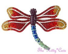 Collector Quality Silver Pl Dragonfly Mayfly Brooch w/ Rainbow Swarovski Crystal