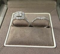 14k White Gold Over Princess Cut Diamond Ladies Wedding Halo Engagement Ring Set