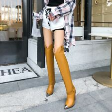 Women Europe Metal Ponty Toe Over Knee Boots High Heel Cowboy Leather Shoes FK15