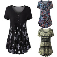 Womens Ladies Summer Short Sleeve Blouse T Shirt Plus Loose V-Neck Tunic Tops VT