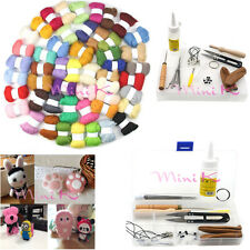 1 Set 50 Color Wool Fibre Needle Felting + Felting Needles Starter Tool Kits DIY