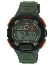 NEW-TIMEX GLOBAL SHOCK GREEN+BLACK+ORANGE TONE,RUBBER BAND,INDIGLO WATCH-T49972