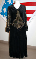 Antique silk velvet dress with goldwork embroidery and gold lame sleeves 1920s