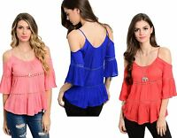 WOMENS LADIES TIERED CAMI CUT OUT COLD SHOULDER GYPSY BOHO TOP SIZE 8-12