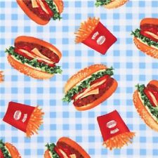 Burgers and Fries-Blue & White Checked B/G-BTY-Robert Kaufman