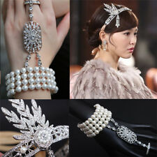 1920s Flapper Hair Accessories Headband Bracelet Ring Set Great Gatsby Headpiece