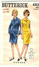 Vintage 1960s Butterick Sewing Pattern Women's TWO PIECE DRESS 4211 Sz 20 UNCUT