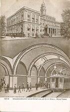 Postcard New York Underground Loop Station at City Hall Subway c1907-15 Unused