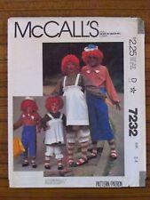 McCALL'S PATTERN - 7232 CHILD'S COSTUME RAGGEDY ANN ANDY DRESS UP SIZE 2-4 UNCUT