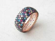 925 Sterling Silver Rose Gold Turquoise Multistone 5 Row Band Ring Size 7.75