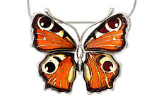 Baltic Amber Sterling Silver 925 Peacock Butterfly Pendant Jewellery Jewelry