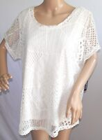 Blooming Rose Women Plus Size 1x 2x 3x Ivory Lined Mesh Crochet Top Blouse Shirt