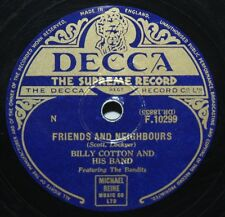 """10"""" 78 - Billy Cotton & His Band - Friends & Neighbours - Decca F10299 - 1954"""