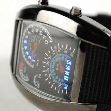 New Fashion Men's Popular Blue Light Aviation Speedometer LED Wrist Watch Black