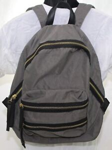 Madison West Kylie Backpack Gray & Black Bag Gold Tone Hardware & Faux Leather