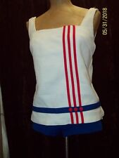 Vintage 1960's White Red Blue Mod Bathing Suit by Sears Size S/M