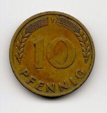 World Coins - Germany 10 Pfennig 1950 J Coin KM# 108; Lot-G2