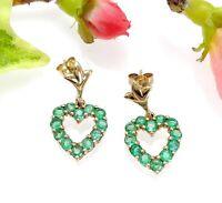 9 CT Gold Emerald Heart Drop Earrings - Hallmarked - Shipton & Co