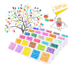 Non-Toxic Color Ink Pad Inkpad Rubber Stamp Finger Print Craft Stamp 30Colors UK
